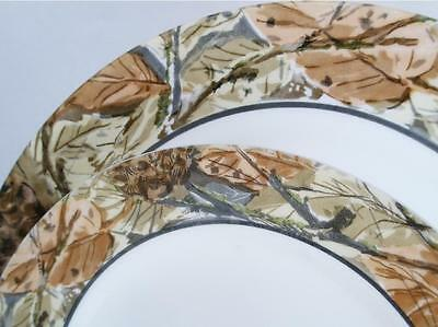 Corelle WOODLAND LEAVES Camouflage LUNCH PLATE Outdoors Nature Woodsy Camo *NEW