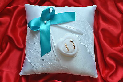 Wedding ring cushion / pillow with lace and rings holder / pearl or crystal
