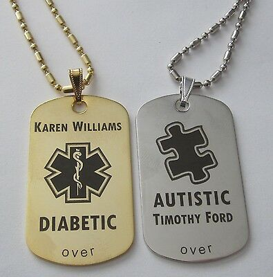 Gold or Silver Tone Metal Medical Alert Diabetic Autism Id Tag - Free Engraving
