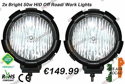 "2x HID Xenon 55W 7"" Inch Work Offroad Lamp Light 12V 24V ATV Quad Lorry Boat Car"