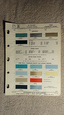 Ditzler Paint Chip Charts - 1966 Commercial Colors Chevrolet Dodge Motorhome ...
