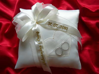 Personalised wedding ring cushion / pillow with heart /86 colours/ any language