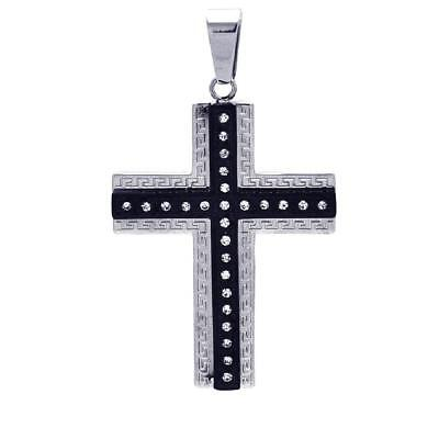 Stainless Steel Celtic Border Double Cross Pendant w/ CZ Stones, Free Ball Chain