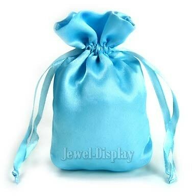 """50 Turquoise Drawstring Soft Silky Satin Wedding Pouches Gift Bags 4"""" x 5.5"""""""