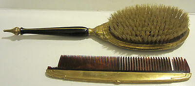 Vintage Mir-A-Gold Brass Engraved Brush & Comb