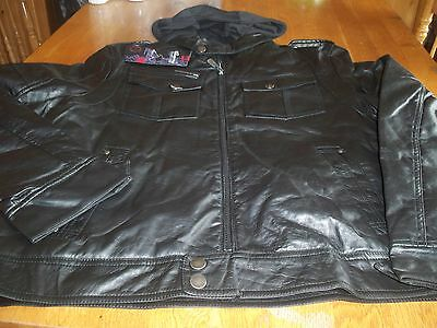 """Nwt! """"whispering Smith"""" Mens Black Faux Leather Hooded Jacket Size L $100."""