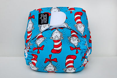 "Limited edition ""Cat in the Hat"" modern cloth nappy - an eatmyfeet product"