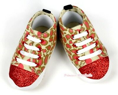 Toddler Baby Sparkle Red Goldenrod Leopard Sport Shoes Sneakers Unisex NB-18M