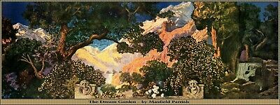 "Maxfield Parrish Art Deco Dream Garden Poster Tiffany Window Style 12"" X 32"" !"