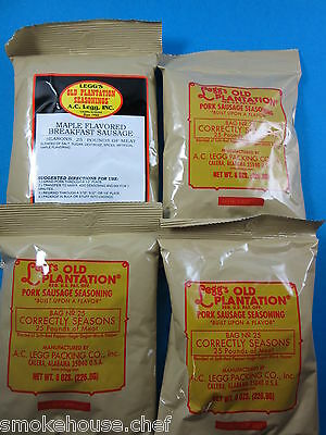 VARIETY 4 packs of Old Plantation Pan Sausage Seasoning for 100 LBS Venison Pork