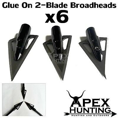 6x GLUE ON 2-BLADE BROADHEADS FOR COMPOUND & RECURVE BOW ARCHERY & HUNTING