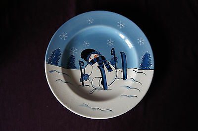 Snow Valley skiing snowman dinner plate Canterbury Potteries hand painted VGUC