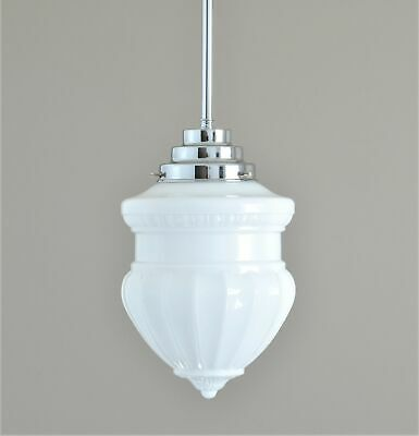 "St Kilda-Art Deco Light-White ""Provincial"" Glass Shade-Extreme Deco Suspension"