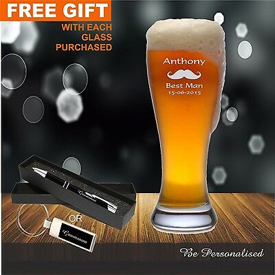 Personalised Engraved 425ml  Beer Glass Wedding Favour Bomboniere Birthday Gifts