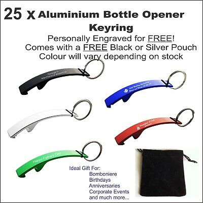 25 x Custom Engraved Personalised Metal Keyring Bottle Opener Wedding Gifts