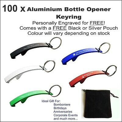 100 x Custom Engraved Personalised Metal Keyring Bottle Opener Wedding Favours