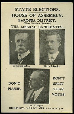 1921 Scarce Sa State Election Liberal Party How To Vote Brochure G76