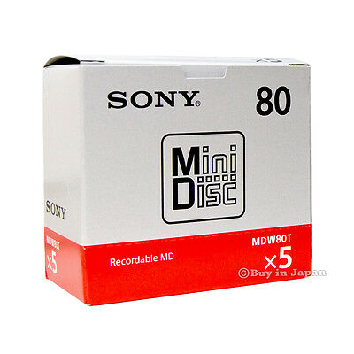 Genuine 5 Sony MD80 Minutes Blank Recordable Sealed Minidisc Made in Japan