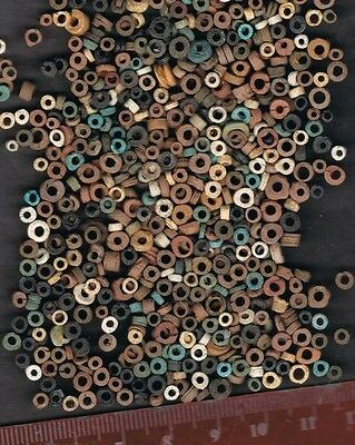 1000 Ancient Authentic Egyptian Faience Mummy Beads Discs 650Bc