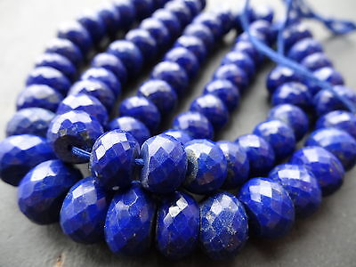 HAND FACETED LAPIS LAZULI RONDELLES, approx 8.5mm - 11mm, 17.5""