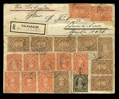 CHILE 1913 POSTAL FISCALS REGISTERED...19 stamps FRANKING to ARGENTINA