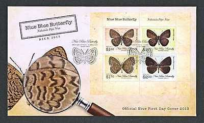 Niue   2013   Blue Butterfly   Ms    Fdc