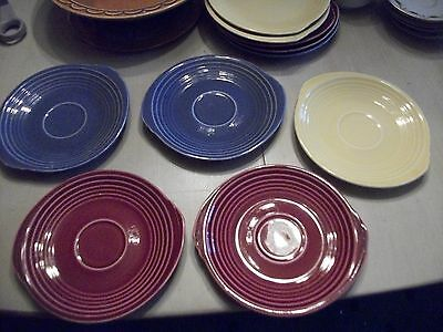"5 Edwin M. Knowles ""Yorktown"" pattern Yellow, Red, & Blue saucers in VGC"