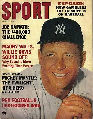 1965 Sport Magazine baseball, Mickey Mantle,New York Yankees Joe Namath Jets VG