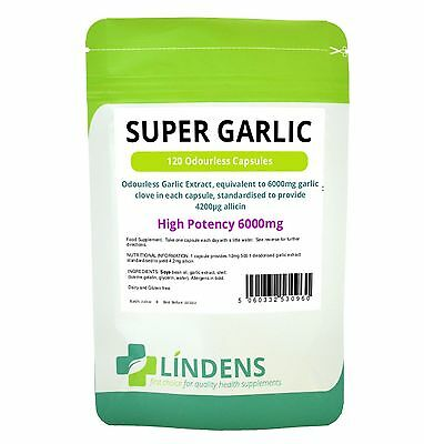 Super Strength Garlic 6000mg; Odourless; 120 capsules oil softgels Lindens