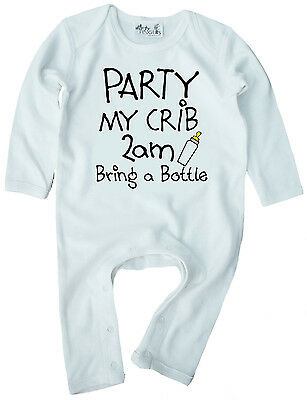 "Funny Baby Romper ""Party My Crib 2am Bring a Bottle"" Boy Girl Clothes Gift"