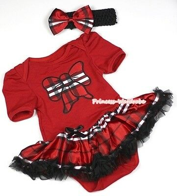 Baby Hot Red Plaid Kitty Bow Jumpsuit Girl Dress Black Red Plaid Skirt NB-12M