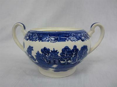 Old Willow Alfred Meakin England Blue White Sugar Bowl