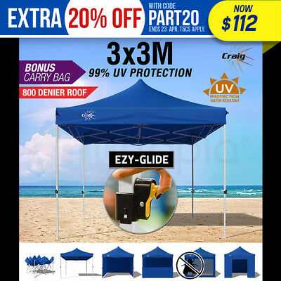 NEW CRAIG 3x3m Gazebo Outdoor Ezy-Glide Blue Pop Up Folding Marquee Party