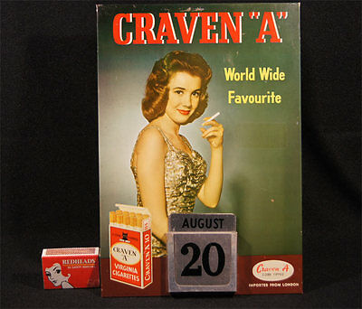 """Vintage 1950's Tin Craven """"a"""" Perpetual Calender Advert Sign Made In Hong Kong."""
