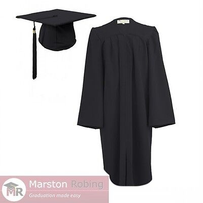Black Adult Graduation Gown & Hat for College and University