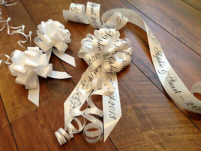 Personalised Wedding Car Ribbon Kit  All Colours Quality Ribbon and Handmade Bow