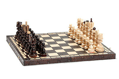 Brand New Hand Crafted King Wooden Chess Set 44cm x 44cm
