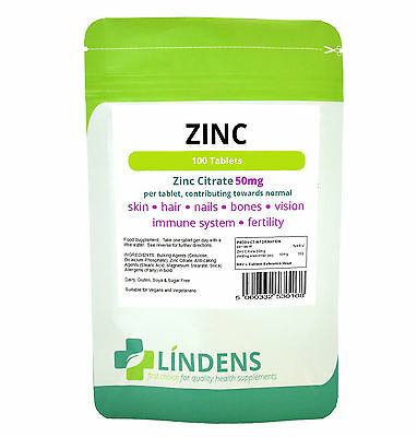 Zinc Citrate 50mg Tablets (100 pack), sexual health acne immune skin hair vision