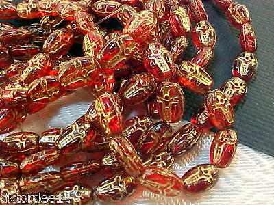"""Vtg 60 RED """"GOLD"""" EMBOSSED ROSARY GLASS BEADS + 1 CROSS CHARM #101212aaaa"""