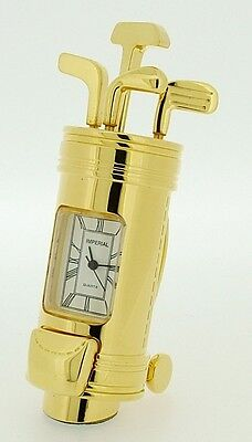 Miniature Novelty Golf Trolley Clock in Solid Brass/Gold Plated
