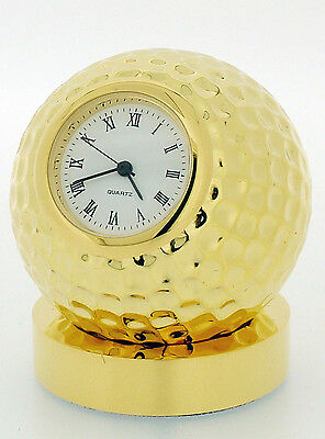 Miniature Novelty Solid Brass Golf Ball Clock on Stand Gold Plated