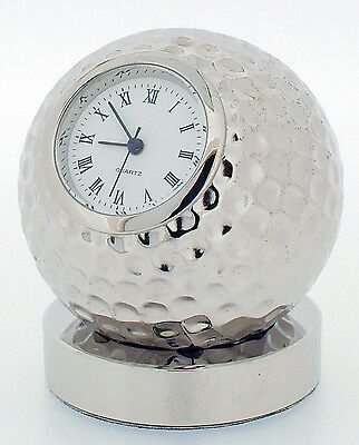 Miniature Novelty Solid Brass Golf Ball Clock on Stand Chrome Plated