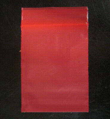 100 RED COLOR  2 x 3 Plastic Ziploc/Ziplock reclosable Jewelry BAGS 2 MIL