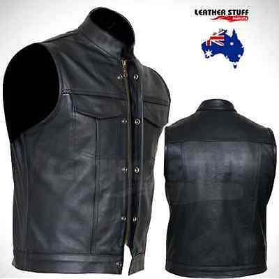 "New Motorcycle ""Sons Of Anarchy"" Style A Grade Leather Vest Hiden Zip & Studs"