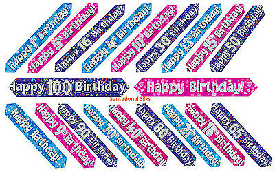 9ft - 2.7m  Eleganza Holographic Foil, Birthday Banner, Pink, Blue & Purple