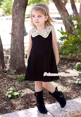 Light Gold Sequin Doll Collar Black Floral Lace One Piece Party Dress 2-8Y PD040