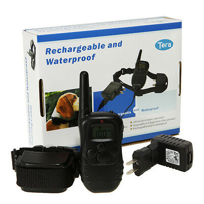 Remote LCD Rechargeable Pet Dog Training Collar 100 Level Charge Shock Vibration