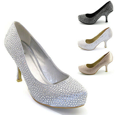 Womens Bridal Shoes Diamante Satin Kitten Low Heel Concealed Platform Slip On