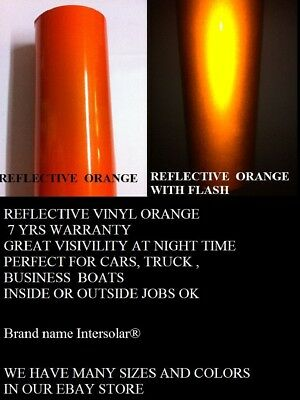 "12"" x 5 ft  ORANGE  Reflective Vinyl Adhesive Cutter Sign Hight Reflectivity"