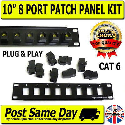 "10"" 1U 8 Port Way Cat6 Keystone RJ45 Patch Panel Network Rack Mount Hub Switch"